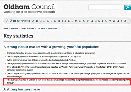 Oldham Council advertising low wages as positive