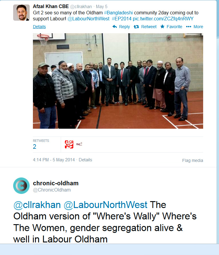 Labour Party gender Segregated electioneering in Oldham.