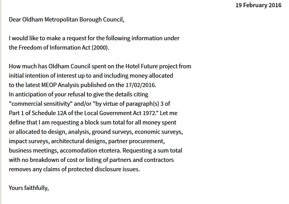 Hotel Future FOI request to Oldham Council