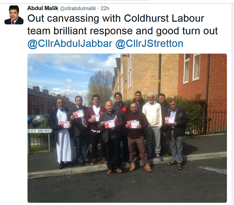 Every election in Coldhurst only ever shows men on the Labour canvassing team