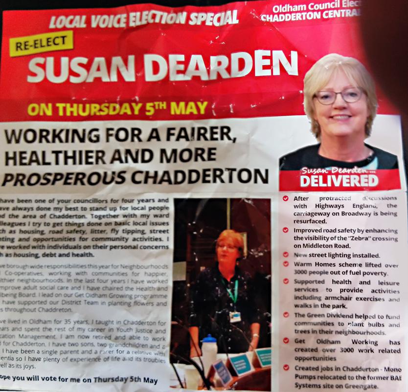 Chadderton Central Labour leaflet.