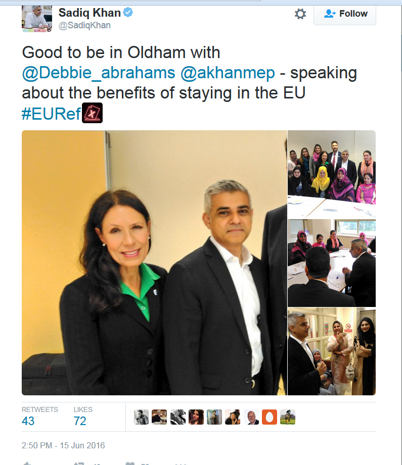 Debbie Abrahams and Sadiq Khan in Oldham